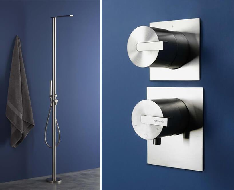 ekskluzywny zestaw prysznicowy od Ritmonio linia DOT316 na tle niebieskich ścian łazienki