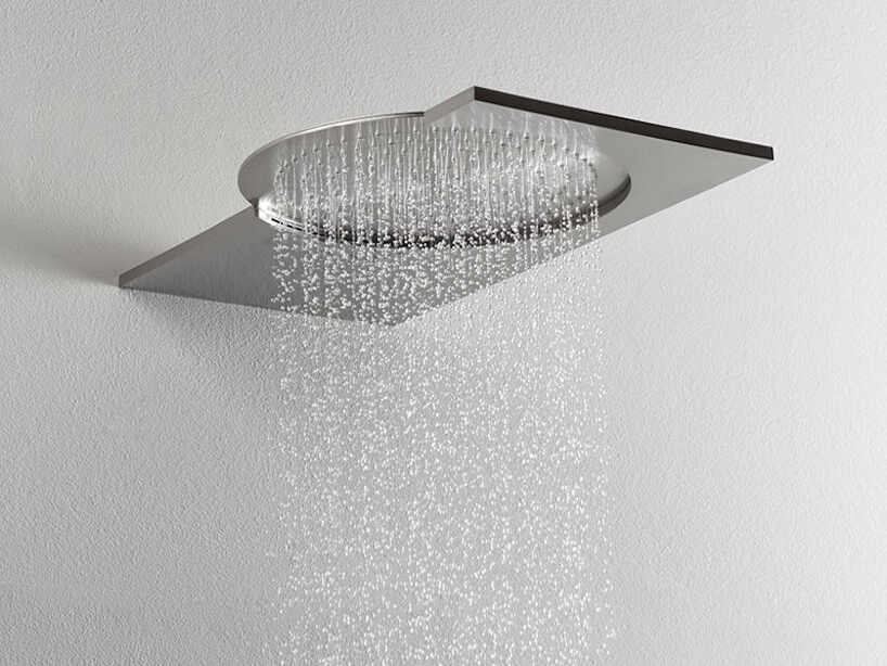 ekskluzywny zestaw prysznicowy od Ritmonio linia DOT316 elegancka srebrna deszczownia