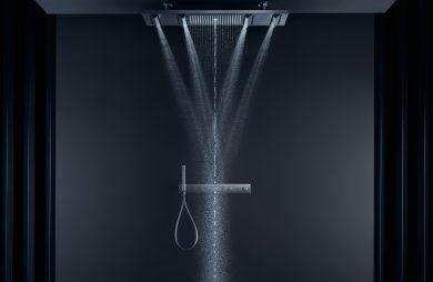 ekskluzywny zestaw prysznicowy AXOR w czarnej łazience