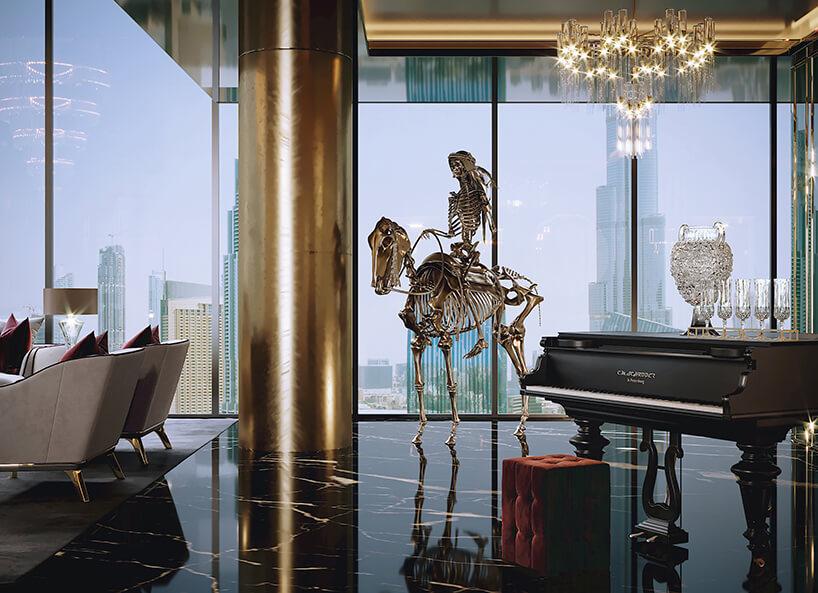 luksusowe wnętrze apartamentu wDubaju od Covet House złoty szkielet człowieka na koniu obok złotego filaru na tle panoramy miasta