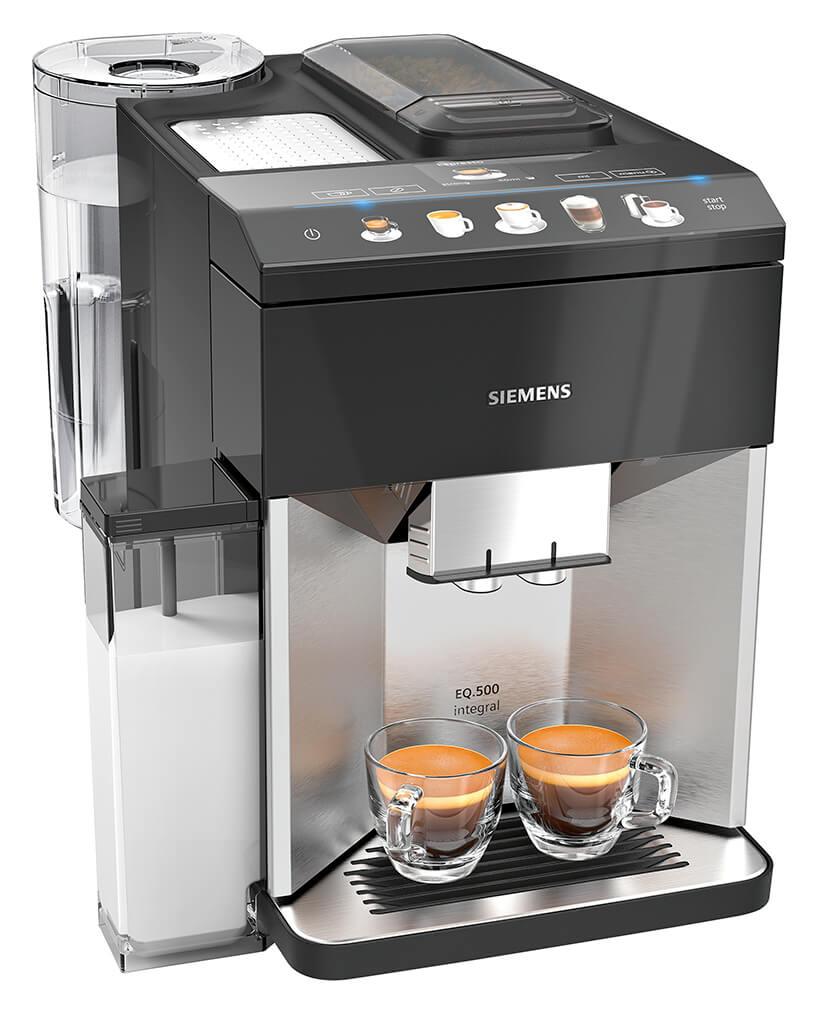ekspres ciśnieniowe do kawy Siemens EQ.500 zpojemnikiem na mleko