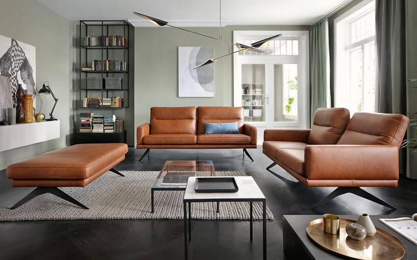 brązowe eleganckie zestaw wypoczynkowy Genova na metalowych nóżkach wnowoczesnym salonie