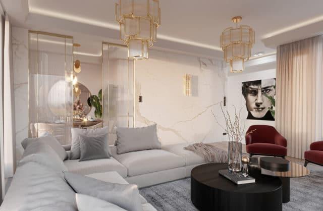 wnętrze eleganckiego apartamentu biały salon z kamieniem na ścianach
