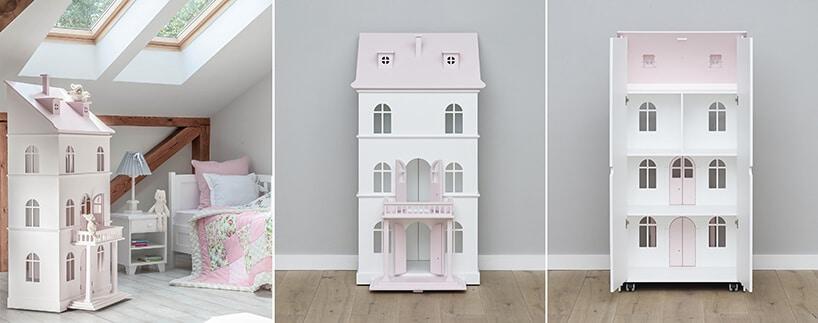 biało różowy domek dla lalek od Nizio Home wpokoju na poddaszu