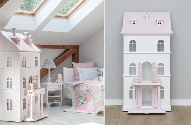 biało różowy domek dla lalek od Nizio Home w pokoju na poddaszu
