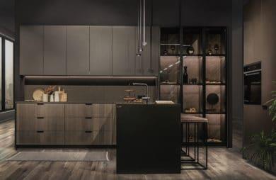 luksusowa ciemna kuchnia od ernestrust w kształcie litery l z czarną wyspą