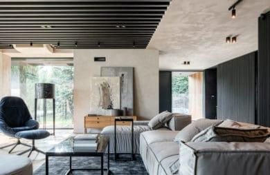 eleganckie wnętrze domu salon w szarościach i ciemnym drewnem na suficie