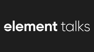 białe logo element talks