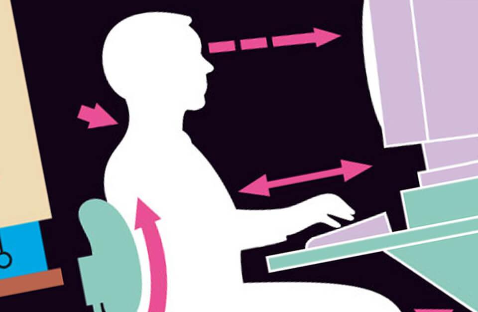 grafika z prawidłową pozycją przy biurku