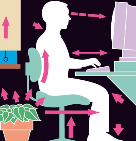prawidłowa pozycja siedzenia przy biurku