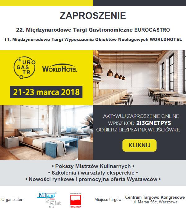 zaproszenie na Eurgastro iWorld Hotel 2018