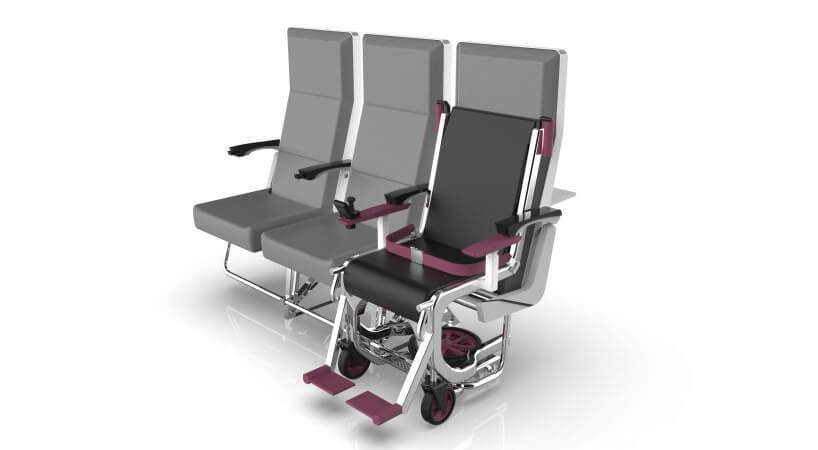 nowoczesny projekt wózka adaptującego się do fotela wsamolocie Row 1-Airport nagrodzony wEuropean Product Design Award 2019