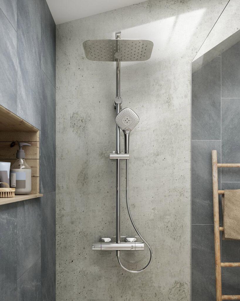 słuchawka prysznicowa na szarej ścianie