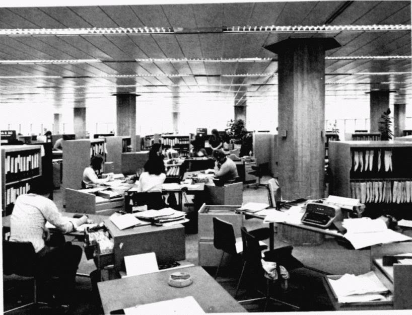 stanowiska pracy wbiurze według koncepcji Bürolandschaft