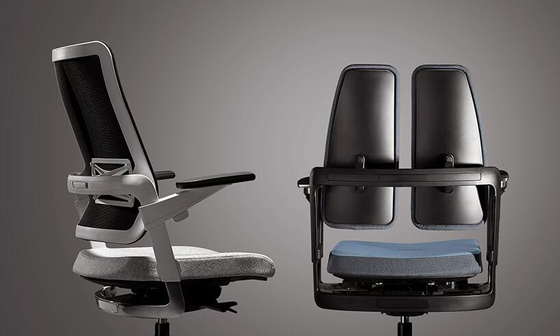 nowoczesny fotel do biura zsrebrną konstrukcją oraz dwoma panelami pod plecy