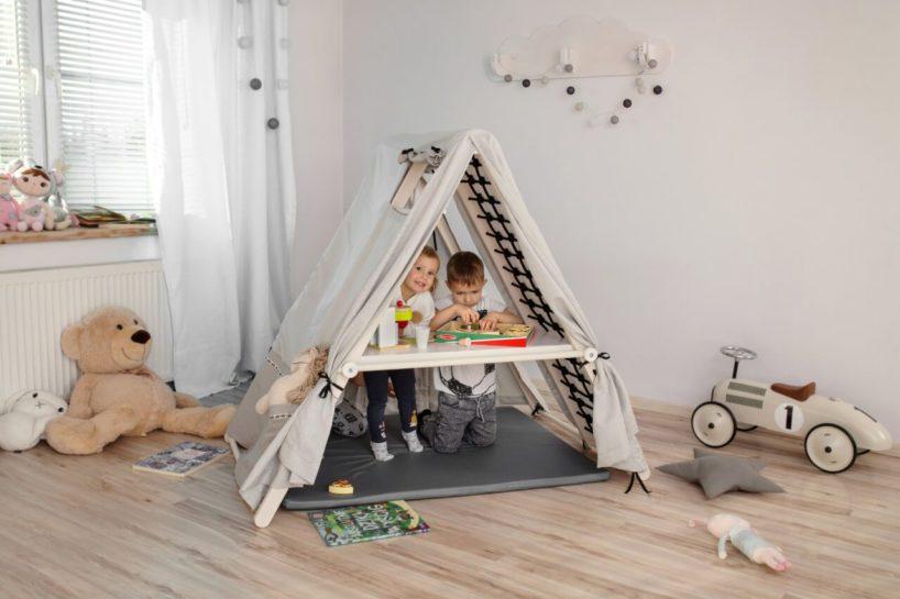 domowy plac zabaw Figelo drewniany namiot zdrabinkami