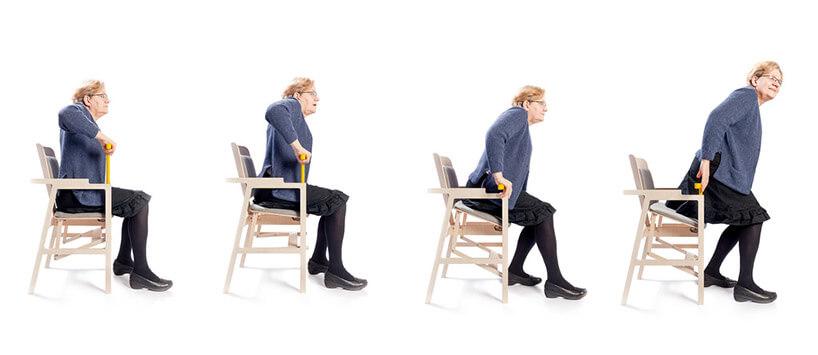 etapy działania specjalnego fotela dla osób starszych