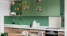 projekt domu zkanapą wkolorze magenty ioliwkową kuchnią finchstudio