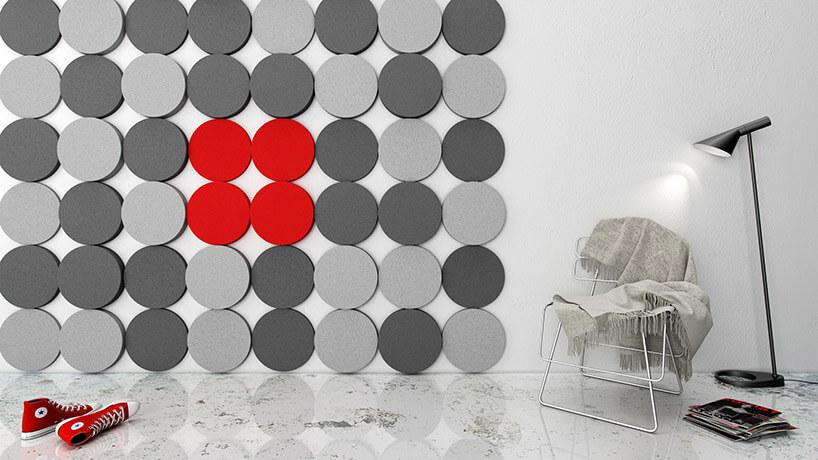 okrągłe szare iczerwone przestrzenne panel ścienne