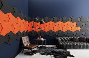 czarne i pomarańczowe przestrzenne panel ścienne