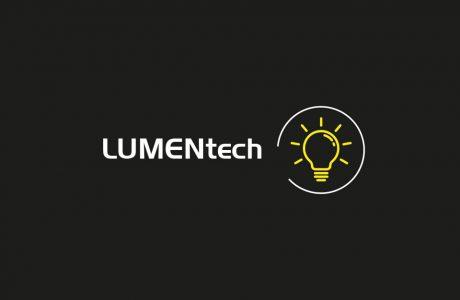 biało żółty logotyp Forum Techniki Świetlnej LUMENtech 2020 na czarnym tle
