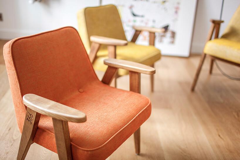 pomarańczowy iżółty fotel 366