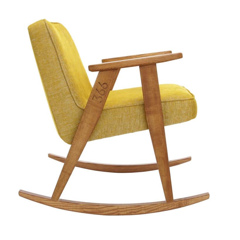 limonkowy fotel zmiękiego materiału na płozach