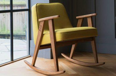 fotel 366 Cocnept w wersji bujanej z zielonym siedziskiem