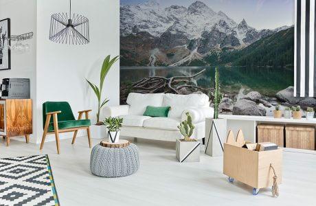 kolorowa fototapeta gór w salonie zbiałą sofą