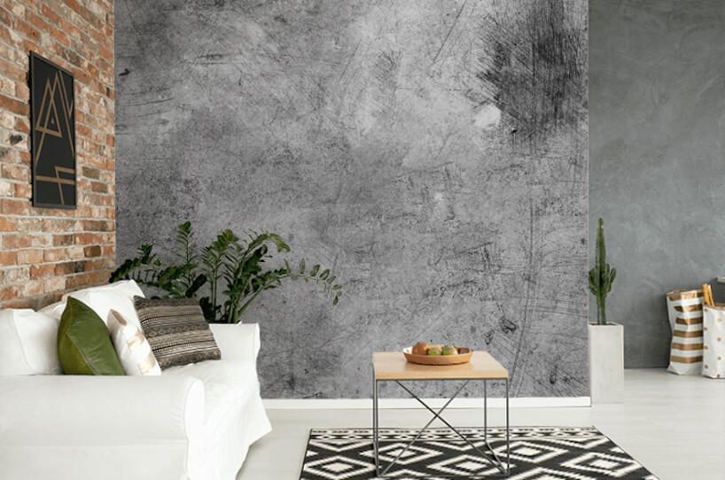 nowoczesny salon zbiałą podłogą iceglaną ścianą obok szare fototapety od Uwalls