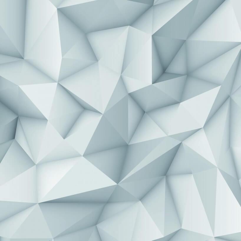 nowoczesna jasnoniebieska fototapeta zprzestrzennym motywem trójkątów od Uwalls