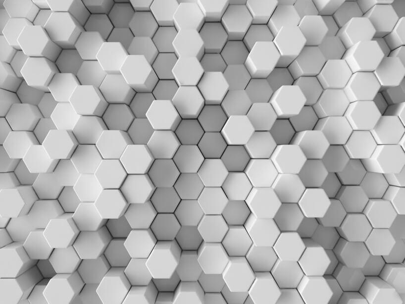 nowoczesny przestrzenny wzór fototapety zsześciokątów od Uwalls