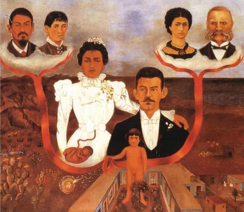 obraz rodzinny zkobietą wbiałej sukni oraz mężczyzną zgarniturem