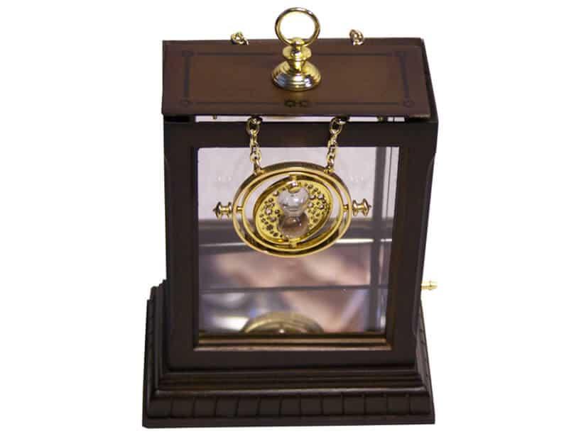 Zmieniacz czasu zfilmu Harry Potter złoty naszyjnik wdrewnianej szkatułce naszyjnik