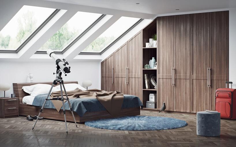 teleskop brązowe łóżko brązawa szafka na ubrania na poddaszu