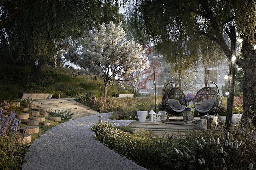 aranżacja parku zdrzewami drewnianymi siedziskami zkoszami do siedzenia na osiedlu Vialo wstylu hygge wGdańsku