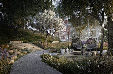 aranżacja parku z drzewami drewnianymi siedziskami z koszami do siedzenia na osiedlu Vialo w stylu hygge w Gdańsku
