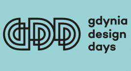 czarny logotyp Gdynia Design Days 2020 online na niebieskim tle