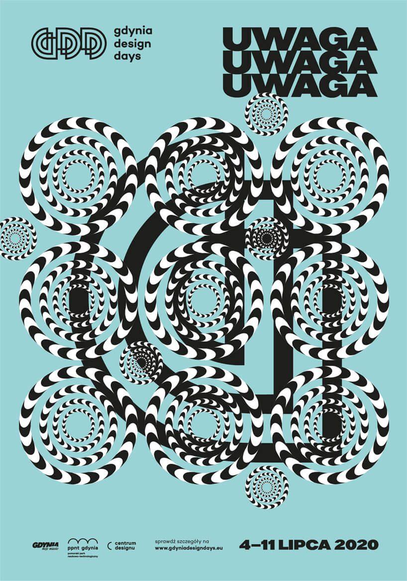 czarno biały plakat Gdynia Design Days 2020 online na niebieskim tle