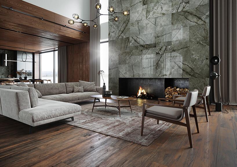 ciepłe wnętrze zbiałą skórzaną tapicerką oraz kominkiem zmarmurowymi płytami