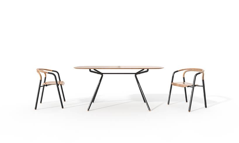 nowoczesny drewniany stół zkrzesłami od Adezo