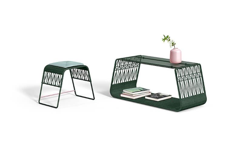 wyjątkowe zielony stołek istolik od Wicker