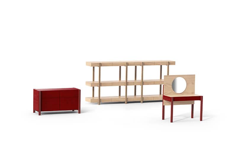 czerwone drewniane modułowe meble od Prohan