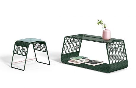 wyjątkowe zielony stołek i stolik od Wicker