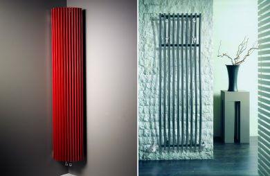 dwa nowoczesne grzejniki łazienkowe