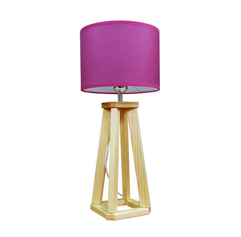 drewniana lampa zfioletowym abażurem
