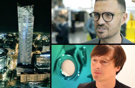 Oskar Zięta i Maciej Zień obok zdjęcia wieżowca Złota 44 nocą