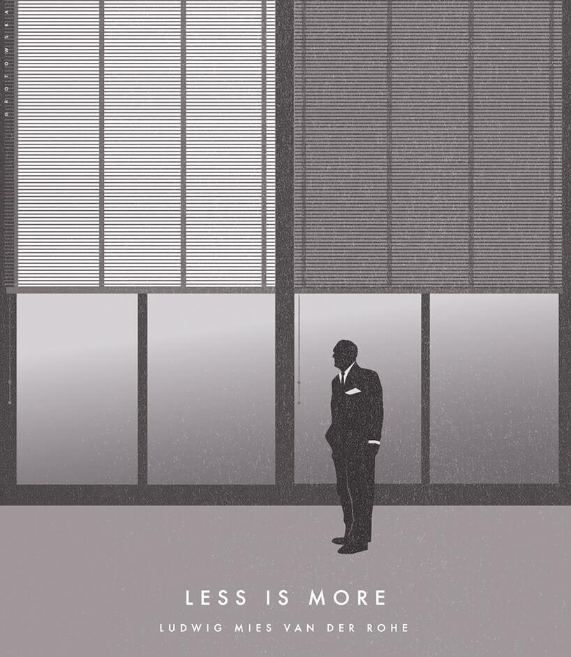 szara grafika zmężczyzna ipodpisem Less is more
