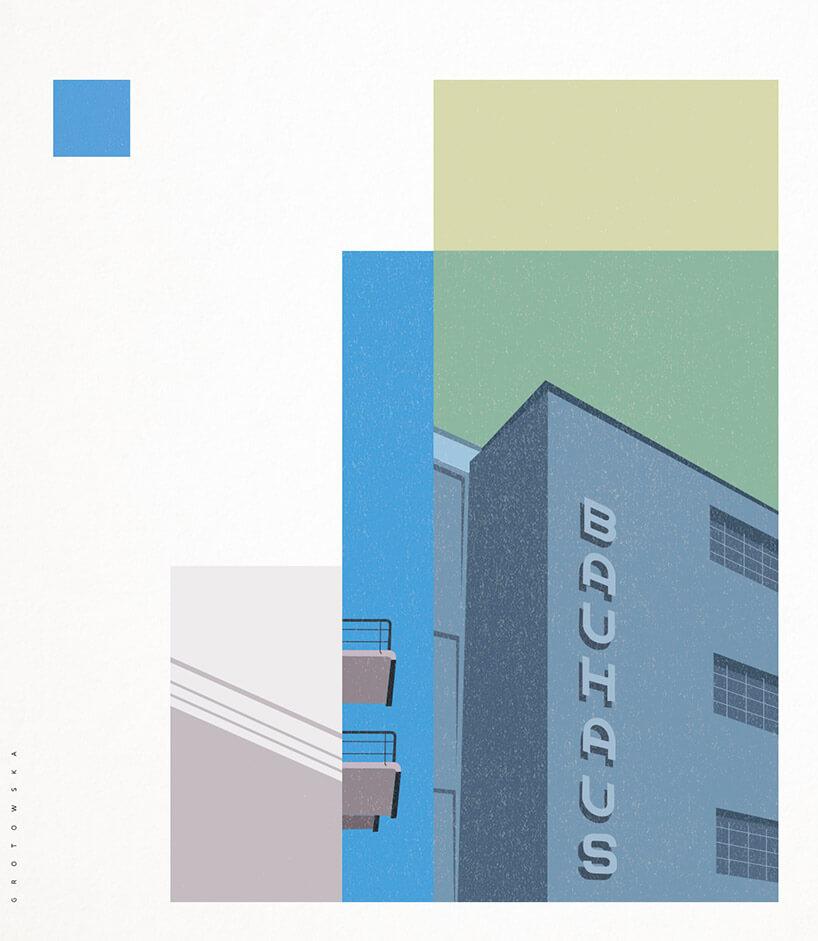 grafika budynku znapisem Bauhaus