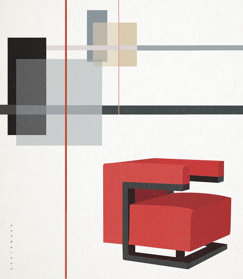 grafika czerwonego fotelu Bauhaus